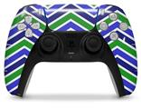 WraptorSkinz Skin Wrap compatible with the Sony PS5 DualSense Controller Zig Zag Blue Green (CONTROLLER NOT INCLUDED)