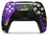WraptorSkinz Skin Wrap compatible with the Sony PS5 DualSense Controller Halftone Splatter Green Purple (CONTROLLER NOT INCLUDED)