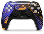 WraptorSkinz Skin Wrap compatible with the Sony PS5 DualSense Controller Halftone Splatter Orange Blue (CONTROLLER NOT INCLUDED)