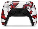 WraptorSkinz Skin Wrap compatible with the Sony PS5 DualSense Controller Butterflies Red (CONTROLLER NOT INCLUDED)