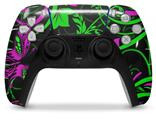 WraptorSkinz Skin Wrap compatible with the Sony PS5 DualSense Controller Twisted Garden Green and Hot Pink (CONTROLLER NOT INCLUDED)