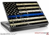 Large Laptop Skin Painted Faded Cracked Blue Line Stripe USA American Flag