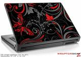 Large Laptop Skin Twisted Garden Gray and Red
