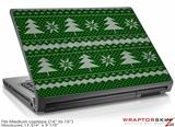 Medium Laptop Skin Ugly Holiday Christmas Sweater - Christmas Trees Green 01