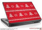Medium Laptop Skin Ugly Holiday Christmas Sweater - Christmas Trees Red 01