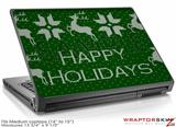 Medium Laptop Skin Ugly Holiday Christmas Sweater - Happy Holidays Sweater Green 01