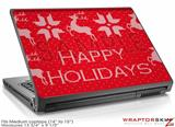 Medium Laptop Skin Ugly Holiday Christmas Sweater - Happy Holidays Sweater Red 01