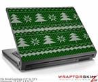 Small Laptop Skin Ugly Holiday Christmas Sweater - Christmas Trees Green 01