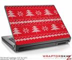 Small Laptop Skin Ugly Holiday Christmas Sweater - Christmas Trees Red 01