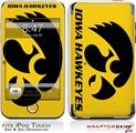 iPod Touch 2G & 3G Skin Kit Iowa Hawkeyes Herky Black on Gold