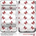 iPod Touch 2G & 3G Skin Kit Pastel Butterflies Red on White