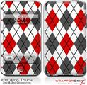 iPod Touch 2G & 3G Skin Kit Argyle Red and Gray