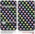 iPod Touch 2G & 3G Skin Kit Pastel Hearts on Black