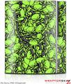 Sony PS3 Skin Scattered Skulls Neon Green