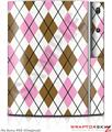 Sony PS3 Skin Argyle Pink and Brown