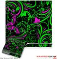 Sony PS3 Slim Skin - Twisted Garden Green and Hot Pink