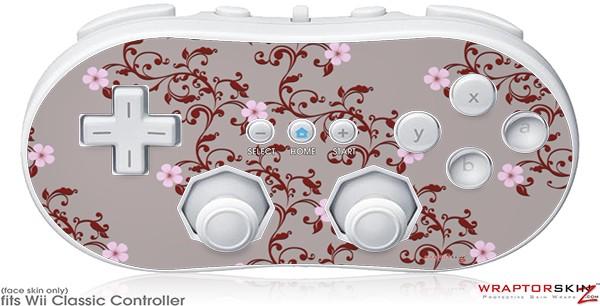 Wii Classic Controller Skin - Victorian Design Red