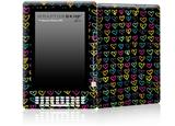 Kearas Hearts Black - Decal Style Skin for Amazon Kindle DX