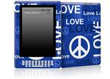 Love and Peace Blue - Decal Style Skin for Amazon Kindle DX