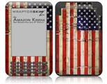 Painted Faded and Cracked USA American Flag - Decal Style Skin fits Amazon Kindle 3 Keyboard (with 6 inch display)