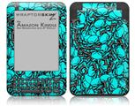 Scattered Skulls Neon Teal - Decal Style Skin fits Amazon Kindle 3 Keyboard (with 6 inch display)
