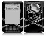 Chrome Skull on Black - Decal Style Skin fits Amazon Kindle 3 Keyboard (with 6 inch display)