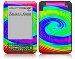 Rainbow Swirl - Decal Style Skin fits Amazon Kindle 3 Keyboard (with 6 inch display)