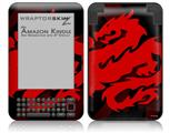 Oriental Dragon Red on Black - Decal Style Skin fits Amazon Kindle 3 Keyboard (with 6 inch display)