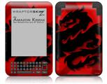 Oriental Dragon Black on Red - Decal Style Skin fits Amazon Kindle 3 Keyboard (with 6 inch display)