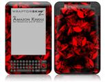 Skulls Confetti Red - Decal Style Skin fits Amazon Kindle 3 Keyboard (with 6 inch display)