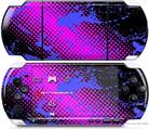 Sony PSP 3000 Decal Style Skin - Halftone Splatter Blue Hot Pink