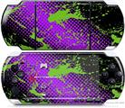 Sony PSP 3000 Decal Style Skin - Halftone Splatter Green Purple