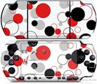 Sony PSP 3000 Decal Style Skin - Lots of Dots Red on White