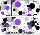 Sony PSP 3000 Decal Style Skin - Lots of Dots Purple on White