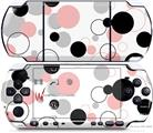 Sony PSP 3000 Decal Style Skin - Lots of Dots Pink on White