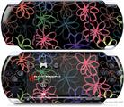 Sony PSP 3000 Decal Style Skin - Kearas Flowers on Black