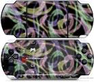 Sony PSP 3000 Decal Style Skin - Neon Swoosh on Black