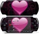 Sony PSP 3000 Decal Style Skin - Glass Heart Grunge Hot Pink