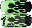 Sony PSP 3000 Decal Style Skin - Metal Flames Green