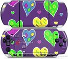 Sony PSP 3000 Decal Style Skin - Crazy Hearts