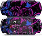 Sony PSP 3000 Decal Style Skin - Twisted Garden Hot Pink and Blue