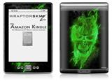 Flaming Fire Skull Green - Decal Style Skin (fits 4th Gen Kindle with 6inch display and no keyboard)