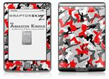 Sexy Girl Silhouette Camo Red - Decal Style Skin (fits 4th Gen Kindle with 6inch display and no keyboard)