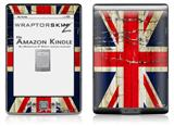 Painted Faded and Cracked Union Jack British Flag - Decal Style Skin (fits 4th Gen Kindle with 6inch display and no keyboard)