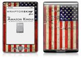 Painted Faded and Cracked USA American Flag - Decal Style Skin (fits 4th Gen Kindle with 6inch display and no keyboard)