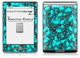 Scattered Skulls Neon Teal - Decal Style Skin (fits 4th Gen Kindle with 6inch display and no keyboard)