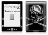 Chrome Skull on Black - Decal Style Skin (fits 4th Gen Kindle with 6inch display and no keyboard)
