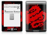 Oriental Dragon Red on Black - Decal Style Skin (fits 4th Gen Kindle with 6inch display and no keyboard)