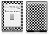 Checkered Canvas Black and White - Decal Style Skin (fits 4th Gen Kindle with 6inch display and no keyboard)