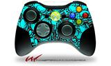 Scattered Skulls Neon Teal - Decal Style Skin fits Microsoft XBOX 360 Wireless Controller (CONTROLLER NOT INCLUDED)